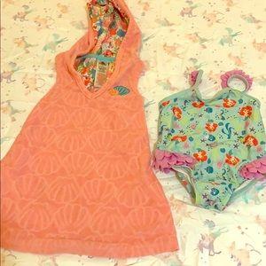 Disney's Little Mermaid Swimsuit & Hooded Towel
